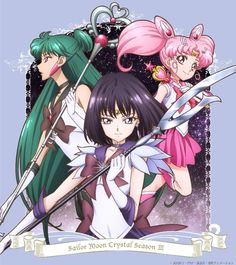 Japanese cover artwork for Sailor Moon Crystal Season 3 Volume 3 featuring Sailor Pluto, Sailor Saturn, and Sailor Mini Moon Buy here http://www.moonkitty.net/where-to-buy-sailor-moon-crystal-bluray-dvd-reviews.php