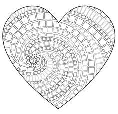 Mosaico en forma de corazón Dibujo para colorear