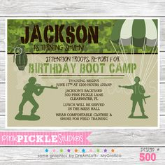 Boot Camp Boy Personalized Party Invitation-personalized invitation, photo card, photo invitation, digital, party invitation, birthday, shower, announcement, printable, print, diy,Boot Camp Boy Personalized Party Invitation, military, bootcamp, marines, army, camo, camouflage, parachute
