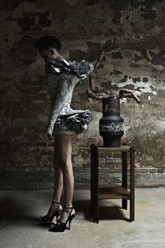 Malgorzata Dudek spring/summer 2012 - dress that reminds me of crinkled birch bark and newspapers