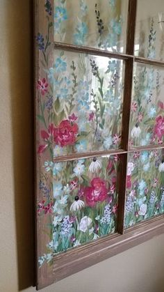 how to paint shabby chic flowers on old windows Glass Wall Art, Stained Glass Art, Window Pane Art, Painted Window Panes, Old Window Art, Old Window Crafts, Window Frames, Rose Shabby Chic, Painting On Glass Windows