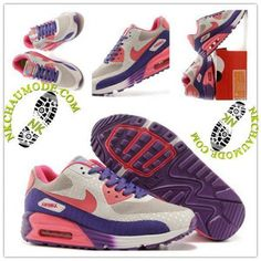 save off 3197f ab78e Montante   Nike Chaussure Sport Air Max 90 Femme Pourpre Rose Blanc
