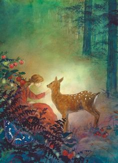 "Daniela Drescher, illustration for ""Brother and Sister"" in ""An Illustrated Treasury of Grimm's Fairy Tales by the Brothers Grimm"""