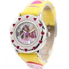 KW062B New Yellow Band Round PNP Shiny Silver Watchcase Children Watch