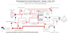 Simple Motorcycle Wiring Diagram for Choppers and Cafe Racers – Evan Fell Motorcycle Works . Simple Motorcycle Wiring Diagram for Choppers and Cafe Racers – Motorcycle Wiring, Motorcycle Headlight, Bobber Motorcycle, Motorcycle Tips, Honda Cb750, Honda Motorcycles, Custom Motorcycles, Honda Dominator, Bmw Scrambler