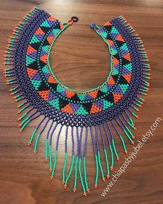 Bead Jewellery, Seed Bead Jewelry, Beaded Jewelry, Beaded Collar, Beaded Choker, Free Beading Tutorials, Beading Projects, Col Crochet, Mexican Pattern