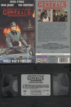 Night of the Generals (VHS, 1989) - Omar Sharif, Peter O'Toole, Donald Pleasence