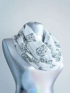 Handmade Tiger Infinity Scarf  Black White  Summer Chiffon by Urbe, $20.00