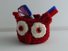 Crochet Owl Basket, Desk Tidy, Cell Phone Holder, Crochet Storage, Woodland Decor, Glasses Holder, Home Organizer, Woodland Nursery by CTDESIGNSBESPOKEBAGS on Etsy