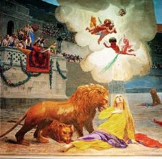 St. Euphemia, Roman Catholic Martyred virgin of Chalcedon. The traditions surrounding her death state that she was tortured and then slain by a wild lion because she refused to attend a pagan ceremony. A church was erected in her honor in the fifth century. Feastday, September 16