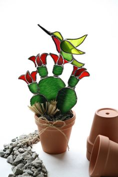 Stained Glass Suncatcher Hummingbird Prickly Pear by GalaGardens, $26.50