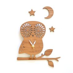Hey, I found this really awesome Etsy listing at https://www.etsy.com/listing/165150900/owl-clock-set-with-branch-moon-and-stars