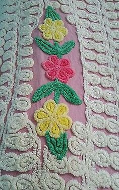 Vintage Pink Chenille Bedspread with Flowers     ~ 88 1/2 BY 100 ~