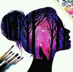 Silhouette Painting by British Artist Danielle Foye Art Drawings Sketches, Cute Drawings, Pencil Drawings, Tumblr Art Drawings, Colorful Drawings, Drawing Art, Silhouette Painting, Silhouette Drawings, Galaxy Art