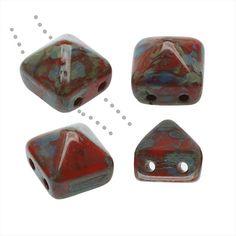 CZECH GLASS BEADS 2 HOLE PYRAMID STUDS 8MM 4 PIECES CORAL PICASSO from beadaholique.com