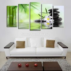 5 Panels Traditional Chinese Style Picture Bamboo Stone Canvas Printing Unframed Green Wall Art for Living Room Bedroom Decor