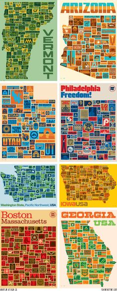 Draplin Design Co. state posters featured on FOXINTHEPINE.COM
