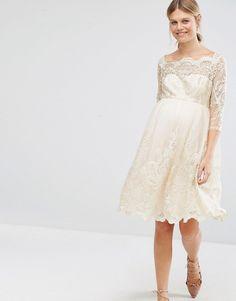 Image 4 ofChi Chi London Maternity Premium Metallic Lace Prom Dress