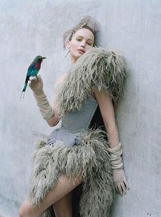 Tim Walker photography of Jennifer Lawrance with bird