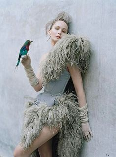 Tim Walker photography of Jennifer Lawrance with bird