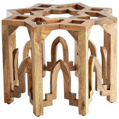 Moroccan-inspired eight-pointed, star-shaped table base - solid mango wood. (Perfectly suited for a beveled glass table top. Mango Wood Coffee Table, Glass Top Coffee Table, Glass Table, Mango Wood Furniture, Moroccan Furniture, Outdoor Furniture, Moroccan Table, Moroccan Decor, Morrocan Coffee Table