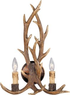 Antler 2 Light Wall Sconce W/ Cream Drip Candle Cover