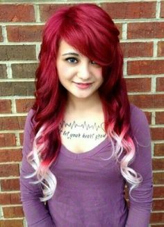 Red hair with white dip dyed tips