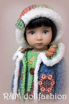 "R&M DOLLFASHION-WINTER LINE OOAK knit outfit for Effner LITTLE DARLING 13"" dolls"