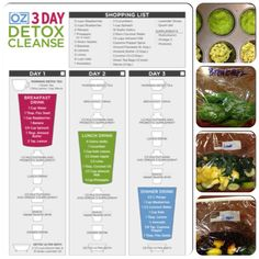 Trying the 3 day detox cleanse by Dr. Oz. I planned ahead freezing what can be for each drink. Then you add rest & blend in blender  Breakfast- raspberries, banana and spinach)  Lunch- kale, green apple and cucumber)  I made the celery into purée and put in muffin tin to freeze overnight.  Dinner- mango, blueberries and kale) I made a purée of the avocado and put that in muffin tin to freeze overnight.   Don't forget 3 extra bags for your snack drink (I did the breakfast, best reviews).