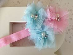 Pink and Blue Mesh Flower With Bling Headband - Flower Headband For Baby Infants/Toddlers/Children