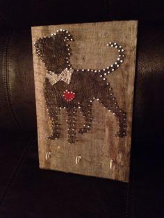 String art - Pitbull leash holder.