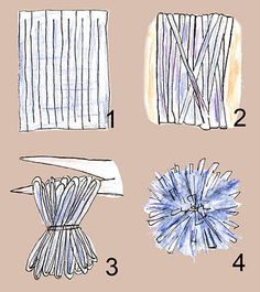 1. how to make a pom pom.  2. how to make a continuous strip out of a square piece of fabric.