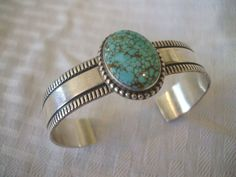 Signed Vintage NAVAJO Andy Cadman Sterling Silver and #8 Turquoise Cuff BRACELET