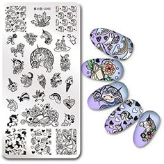 BORN PRETTY 1Pc Rectangle Stamping Plate Unicorn Pattern Manicure Nail Art Plate Harunouta L045 *** Click on the image for additional details. (This is an affiliate link) #NailArtEquipment