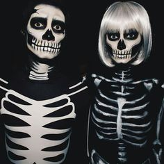 Couples Halloween Costume Ideas To Try This Year - You can find Skeleton costumes and more on our website.Couples Halloween Costume Ideas To Try This Year - Retro Halloween, Halloween Skeleton Makeup, Halloween Inspo, Halloween Makeup Looks, Family Halloween Costumes, Halloween 2019, Diy Costumes, Halloween Make Up, Costume Ideas