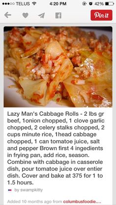 Lazy mans cabbage rolls