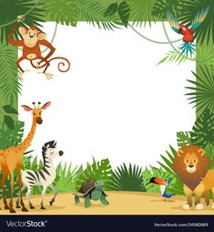 Illustration of Jungle animals card. Frame animal tropical leaves greeting baby banner zoo border template party children, cartoon vector illustration vector art, clipart and stock vectors.