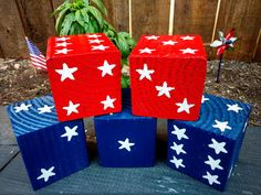 JUMBO YARD LAWN DICE  ~ Purchase a set of 5 and receive a 10% discount! ~  ~ Please indicate what color dice you would like when placing your order. ~  ~ Special July 4th holiday edition with white painted stars as the numbers. ~  Bring the kids, friends and family out in the yard for family game night, parties and BBQs. Great for Yahtzee, Bunco, or any other game of dice. These jumbo dice are so versatile and perfect to give as gifts. They also look fantastic as home decor. Place them on a…