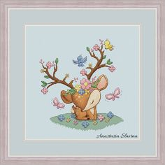 Cute deer baby boy in flowers with birds and butterfly, spring design cross stitch pattern (instant Modern Cross Stitch Patterns, Counted Cross Stitch Patterns, Cross Stitch Designs, Cross Stitch Embroidery, Cross Stitch Fairy, Cute Cross Stitch, Cross Stitch Animals, Baby Deer, Baby Boy