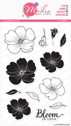 Linen Blooms- beautiful set of floral images with solid and outline image to explore different techniques.