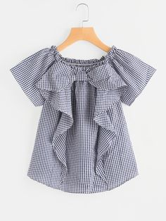 SheIn offers Frill Trim Gingham Blouse & more to fit your fashionable needs. Kids Frocks, Frocks For Girls, Dresses Kids Girl, Kids Outfits, Girls Fashion Clothes, Girl Fashion, Fashion Outfits, Fashion Tv, Retro Fashion