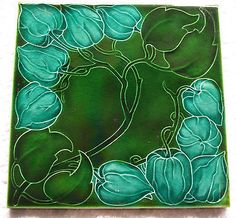 SUPER VICTORIAN Art Nouveau / Arts & Crafts FLORAL ANTIQUE PILKINGTON TILE c1902