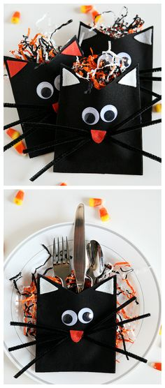 DIY Black Cats - Halloween DIY Black Cat Treat Holders - or adapt for napkin holders Easy Halloween Crafts, Halloween Projects, Diy Halloween Decorations, Spooky Halloween, Holidays Halloween, Halloween Treats, Happy Halloween, Treat Holder, Cat Treats