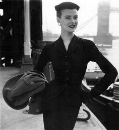 Susan Abraham in John Cabanagh suit, 1953