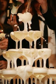 now that's a party. Champagne tower