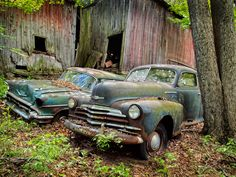 Abandoned cars behind a delapidated barn in rural Massachusetts.