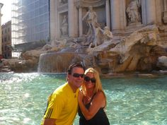 Co-founder of Bella D'Oliva LA Marchesi and husband John at the Trevi Fountain