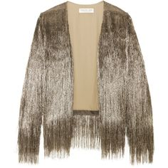 Rachel Zoe Isla fringed open-knit jacket ($580) ❤ liked on Polyvore featuring outerwear, jackets, brown jacket, fringe jacket, brown fringe jacket, rachel zoe and metallic jackets