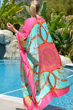 Full Length Silk Caftan Silk Beach Coverup Plus Size Womens Silk Kaftan, Silk Dress, Womens Clothing Stores, Clothes For Women, Outfits For Mexico, Hand Painted Dress, Cruise Fashion, Bathing Suit Dress, Resort Wear For Women