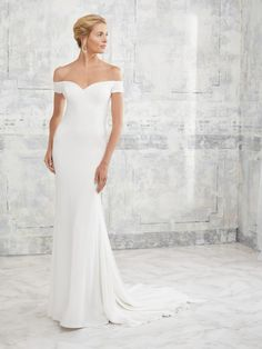 Adrianna Papell Platinum 31126 Off Shoulder Wedding Dress